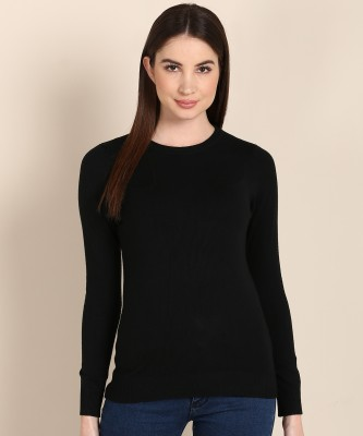 BREIL BY FORT COLLINS Solid Round Neck Casual Women Black Sweater