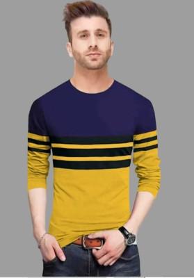 FastColors Solid Men Round Neck Black, Dark Blue, Yellow T-Shirt