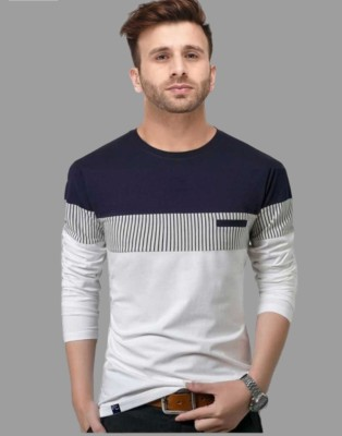 FastColors Solid Men Round Neck White, Blue T-Shirt