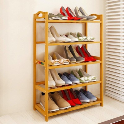 Livzing 5-Tier Multiuse Bamboo Wooden Shoe Rack Slipper Stand Chappal Shelf Household Storage Holder Organizer Solid Wood Shoe Stand(Brown, 5 Shelves)