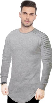 JUST DRESS BETTER Solid Men Round Neck Grey T-Shirt