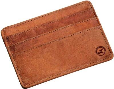 LIMERENCE RFID Blocking Genuine Leather Minimalist Credit Card Holder For Men & Women-Hunter Tan-Brown 6 Card Holder(Set of 1, Tan)