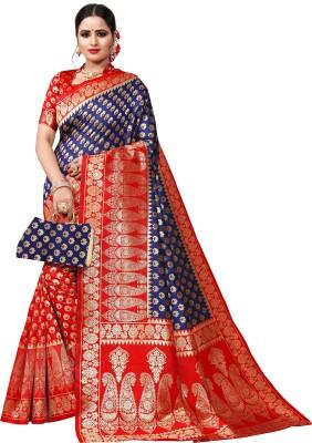 Krishna R Fashion Woven Bollywood Poly Crepe Saree(Dark Blue, Maroon)