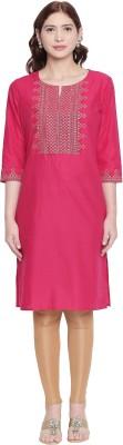 Rangmanch by Pantaloons Women Embroidered Straight Kurta(Pink)