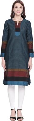 Rangmanch by Pantaloons Women Self Design Straight Kurta(Blue)