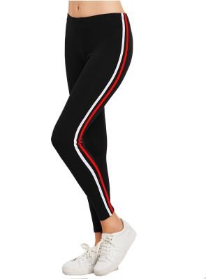 Eazy Trendz Striped Women Black Tights
