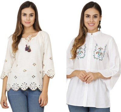 Rupy Fashions Casual 3/4 Sleeve Solid Women White Top