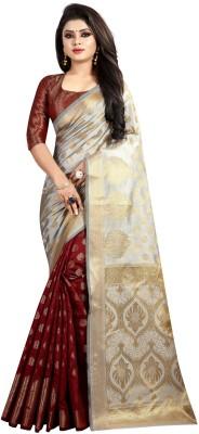 Hinayat Fashion Self Design Banarasi Cotton Silk Saree(Grey)