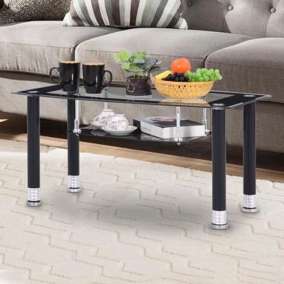RoyalOak Lorie Glass Coffee Table(Finish Color - Black)