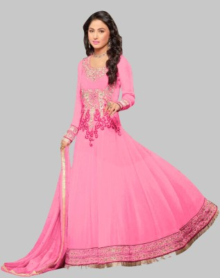 Reya Poly Georgette Embroidered Gown/Anarkali Kurta & Bottom Material(Unstitched)