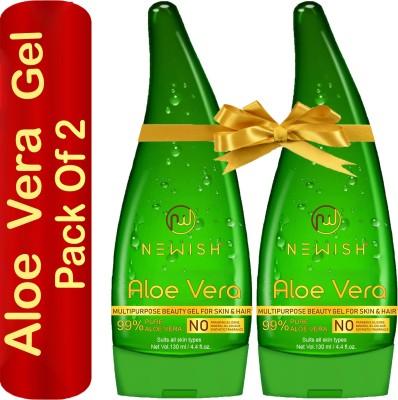 Newish Aloe Vera Multipurpose Gel For Skin & Hair (130 ML + 130 ML) (Pack of 2)(260)