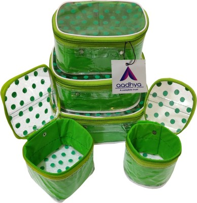 Aadhya POLKA DOT 5 KIT COSMETICS STORAGE BINDI Makeup Organizer Vanity Box(Green)