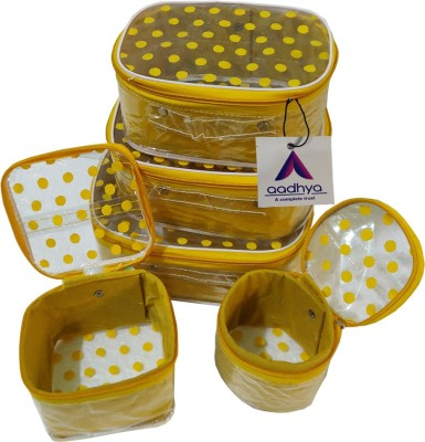 Aadhya Polka Dot 5 Kit Cosmetic stporage makeup bindi Organizer Vanity Box(Yellow)