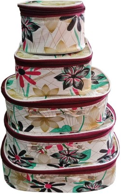 Aadhya Designer 5 set makeup bindi storage kit Vanity Box(White)