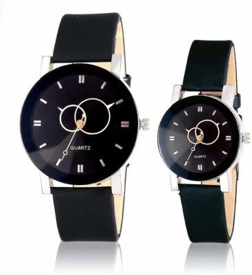 Mahadev Fashion Couple Watch Black Dial ROund Men & Women Analog Watch Analog Watch  - For Couple