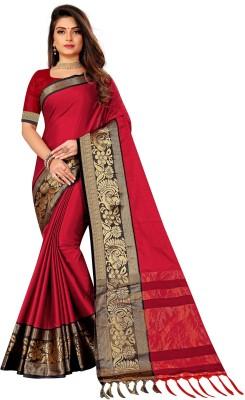 Saree Collection Striped Fashion Jacquard Saree(Red)
