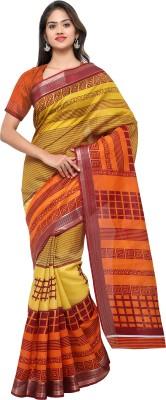 Livie Geometric Print Fashion Art Silk Saree Orange, Yellow