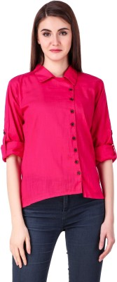 Fit N Fine Casual Roll-up Sleeve Solid Women Pink Top