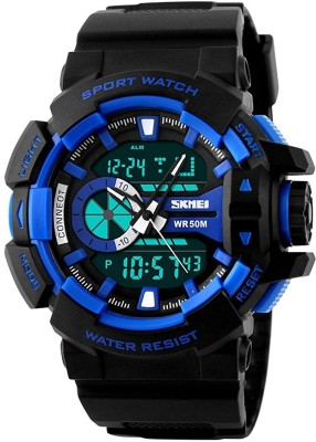 SKMEI Analog Digital Black Dial Men's Watch  1117  BLK BLU  Analog Digital Watch   For Men SKMEI Wrist Watches