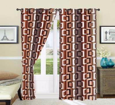 Adimanav 213.36 cm (7 ft) Polyester Door Curtain (Pack Of 2)(Geometric, Brown)