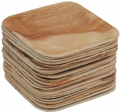 HARAVI Areca Leaf 4 Inch Flat Disposable Square Eco Friendly Plate Dinner Plate 10 Dinner Plate HARAVI Plates Trays   Dishes