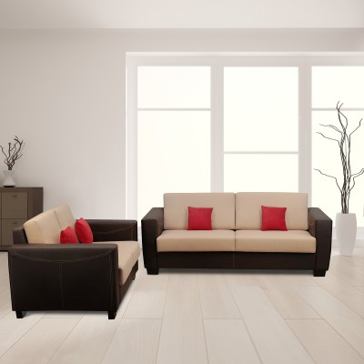 Kurlon Turin Leatherette 3 + 2 brown Sofa Set