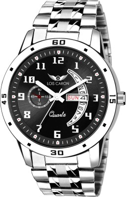 LOIS CARON LCS-8190 BLACK DIAL AND SILVER STRAP DAY & DATE FUNCTIONING WATCH FOR BOYS Analog Watch  - For Men