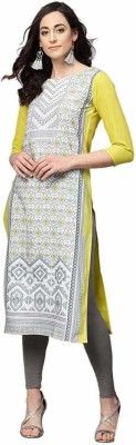 Belle Fashion Women Printed Straight Kurta Yellow
