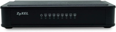 Zyxel 8 Port Unmanaged Desktop Fast Ethernet Switch  ES 108E  Network Switch Black