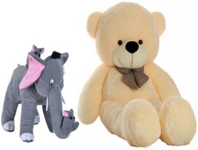 TOYTEDDY 4 FEET SOFT CREAM HUGABLE TEDDY BEAR WITH CUTE MOTHER ELEPHANT AND HER BABY ELEPHANTS COMBO OFFER   144 cm Multicolor TOYTEDDY Soft Toys