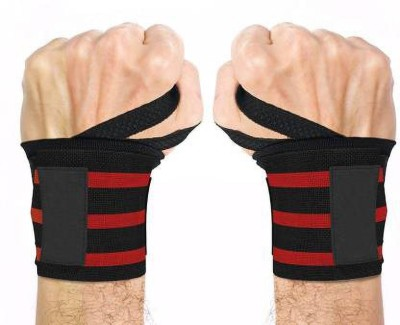 Vixen Weightlifting Wristband Sport Training Hand Bands Wrist Support (Red, Black) Waist Support(Red, Black)
