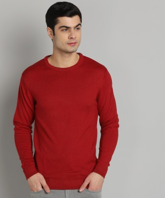 Peter England University Solid Round Neck Casual Men Red Sweater