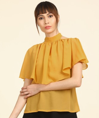 AND Casual Cape Sleeve Solid Women Yellow Top