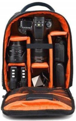 GOD BOY Camera Backpack Waterproof, DSLR Camera, Lens,Camera Accessories  Camera Bag(Orange, Black)