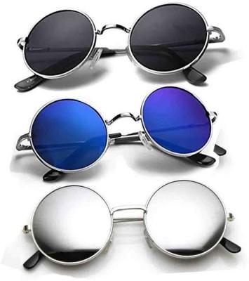 Phenomenal Round Sunglasses(Blue, Black, Silver)