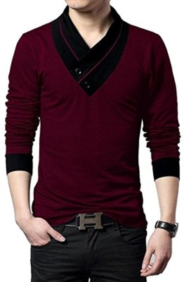 Try This Color Block Men V-neck Maroon T-Shirt