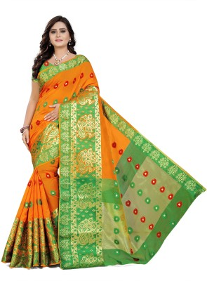 Cartyshop Self Design Banarasi Silk Blend, Cotton Blend Saree(Orange)