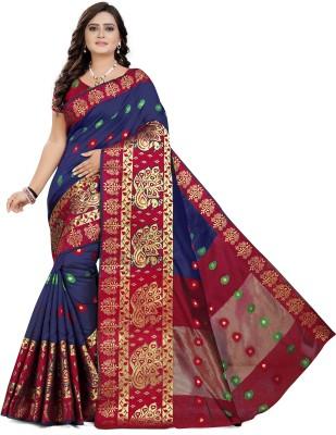 Cartyshop Self Design Banarasi Silk Blend, Cotton Blend Saree(Blue)