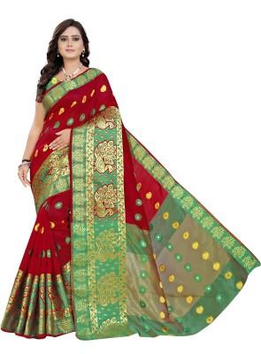 Cartyshop Self Design Banarasi Silk Blend, Cotton Blend Saree(Red)