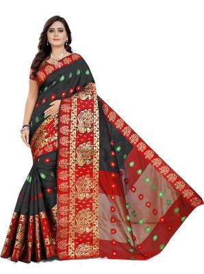 Cartyshop Self Design Banarasi Silk Blend, Cotton Blend Saree(Black)