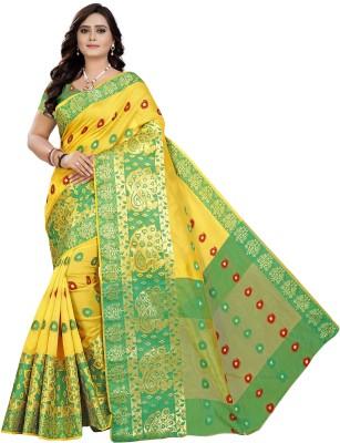 Cartyshop Self Design Banarasi Silk Blend, Cotton Blend Saree(Yellow)