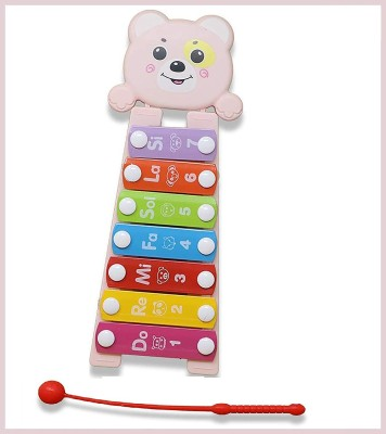 Zest 4 Toyz Cute Design Musical Striking Piano Xylophone Toy for Kid 1 2 3 Years Old || Color- Pink(Multicolor)