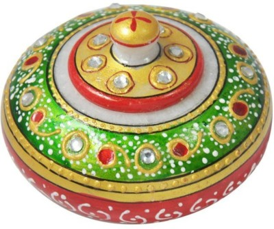 New Jaipur Handicraft Hukum Mere Aaka Traditional Marble Sindoor Dabbi / Sindoor Dani Box for Festival / Beautiful Hand Painted Marble Dabbi / Decorative Small Marble Box Container Decorative Showpiece - 6 cm(Marble, Green, Red)