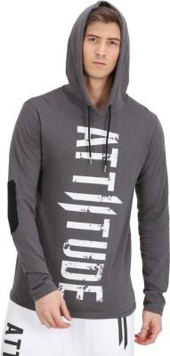 ATTIITUDE Printed Men Hooded Neck Grey T-Shirt