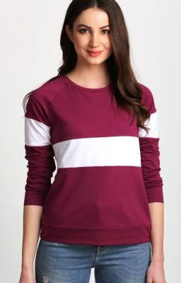 Aelomart Casual Full Sleeve Striped Women White, Maroon Top