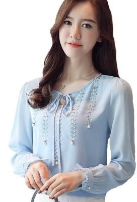 MIZAGO Casual Full Sleeve Embellished Women Maroon Top