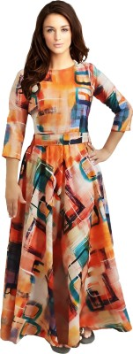 EVALAXY Women Fit and Flare Multicolor Dress