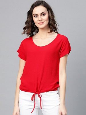 Pannkh Casual Short Sleeve Solid Women Red Top