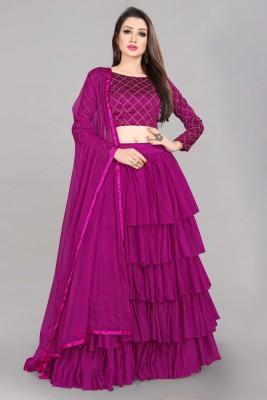 Divastri Solid Semi Stitched Lehenga Choli(Purple)