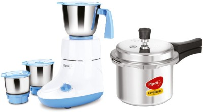 Pigeon Glory 550 W Mixer Grinder (Multicolor, 3 Jars) with IB 3 Ltr Pressure Cooker 2020 Special Combo